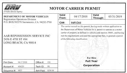 Motor carrier permit number for Motor carrier number lookup