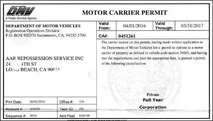 Action auto recovery dmv ca 0451261 for California dmv motor carrier permit